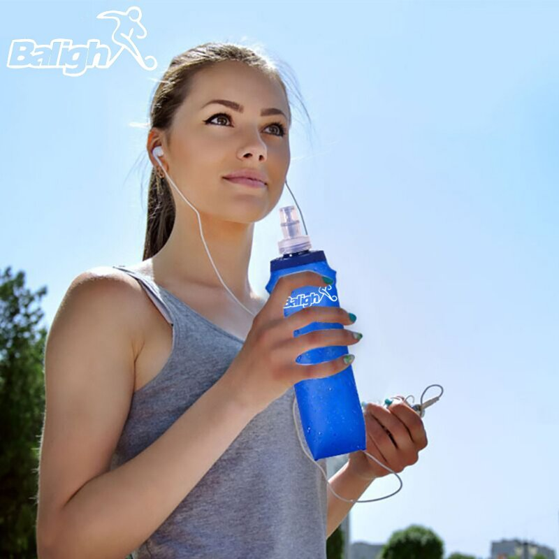 USA Foldable 250/500ml Outdoor Bottle Soft TPU Flask Running